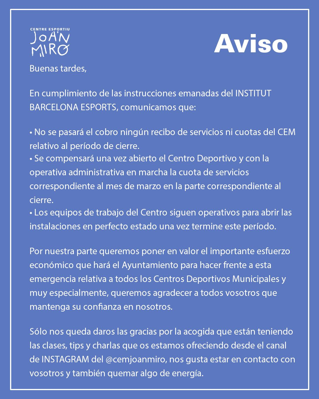 CEM gimnasio en barcelona comunicat CAST